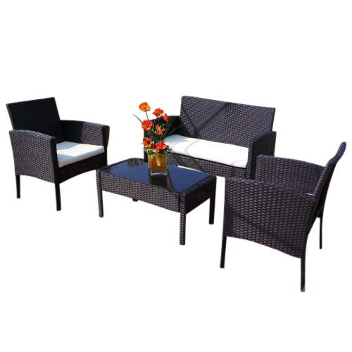 0 Rio Poly Rotting sittegruppe med 1 sofa, bord og 2 stoler - sort