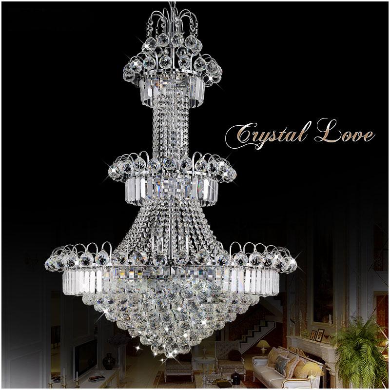0 Stor Hotell Lysekrone - Silver eller gull Krystall taklampe MD85