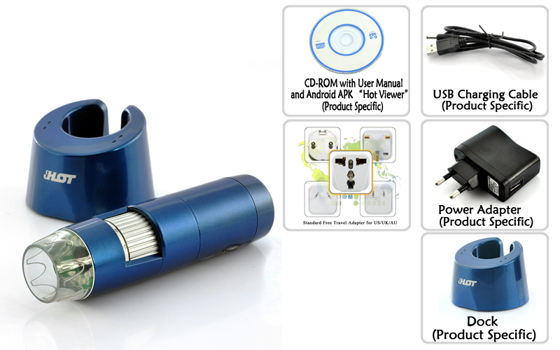 Trådløst digitalt mikroskop for android og ios 200x zoom 1.3