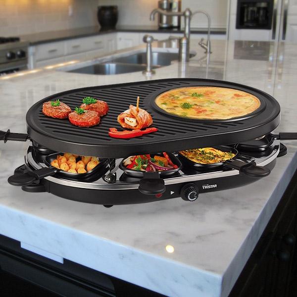 0 Raclette grill med 8 skuffer