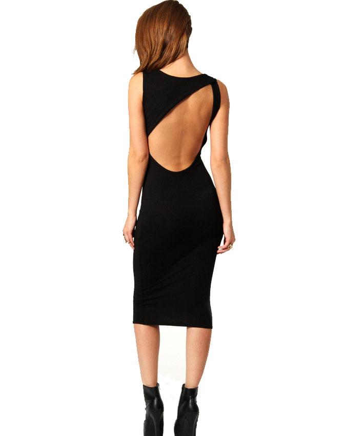 530993db Elegant Slim kjole med åpen rygg - Sort/Rød M - Importpris.no AS