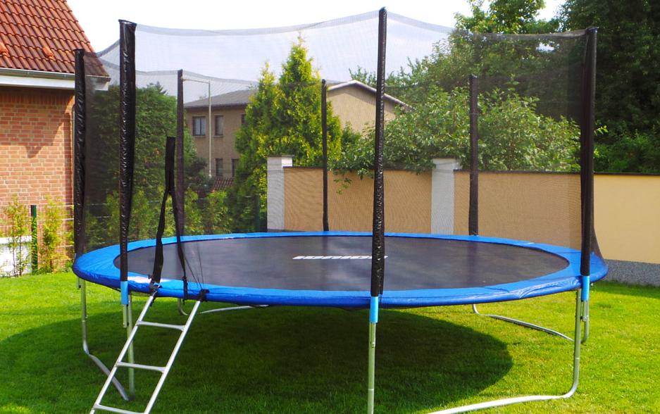 0 Trampoline med sikkerhetsnett og stige - Hele 430cm diameter