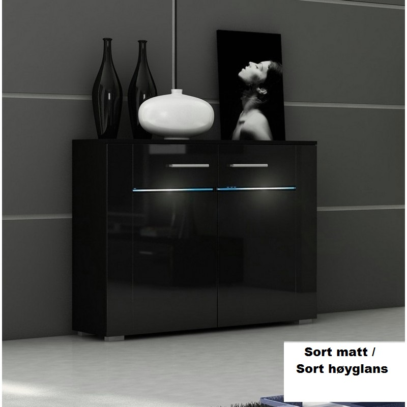 0 Kommode Bremen - Matt sort / Sort høyglans - RGB