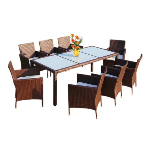 0 Rotting spisegruppe XXL med 8 stoler - brun