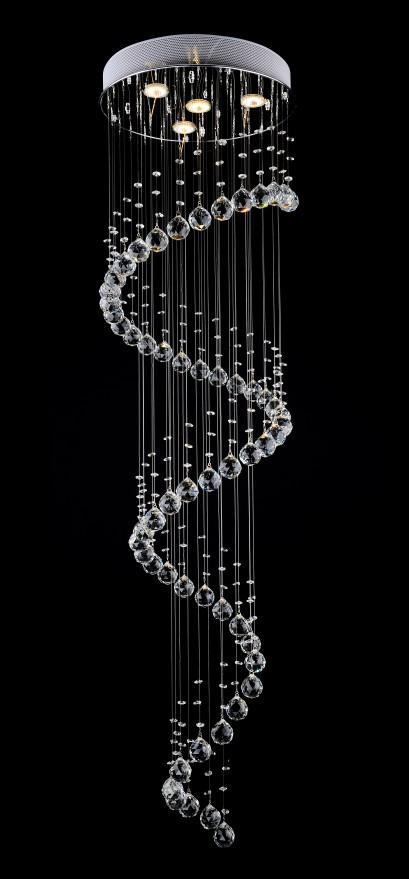 0 Krystall taklampe - spiral design med 4 lys i toppen. (MD1014-L4