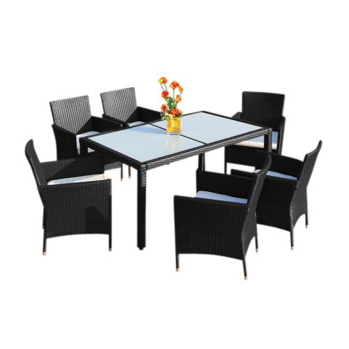 0 Rotting spisegruppe XXL med 6 stoler - sort