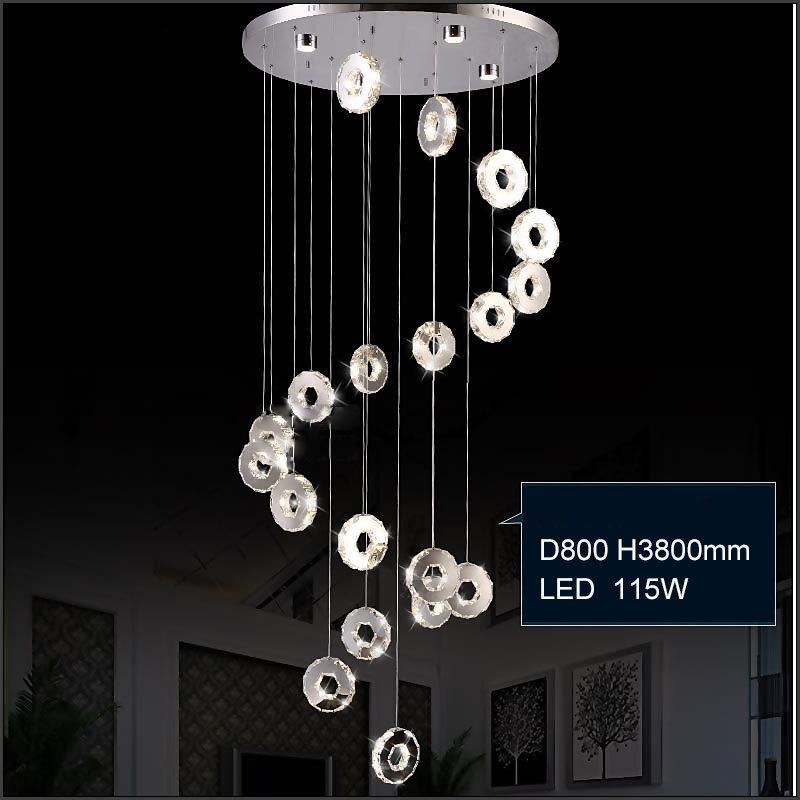 0 Krystall taklampe med sirkulære lysringer smykket med krystaller