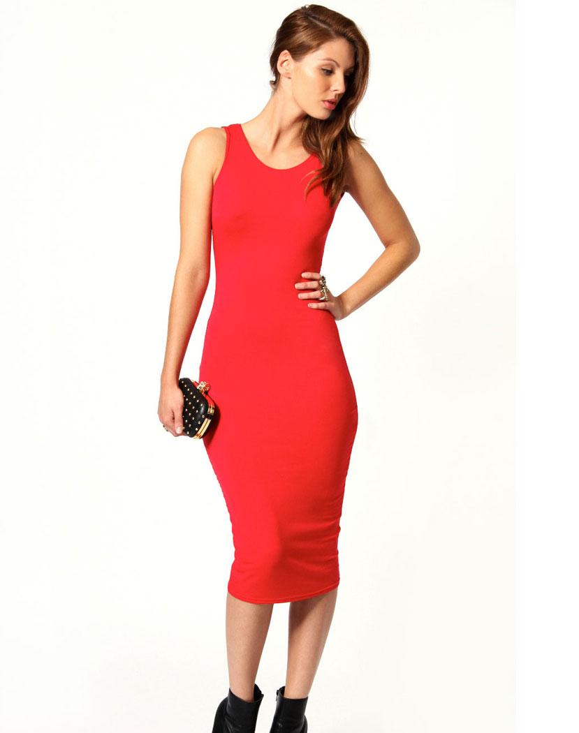 Elegant Slim kjole med åpen rygg SortRød M Importpris.no AS