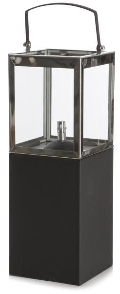 0 Oljelampe/lykt sort sokkel - H:52 cm