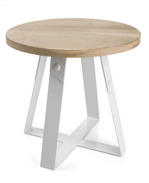 0 Bord rundt i eik/metall - Ø:48 cm