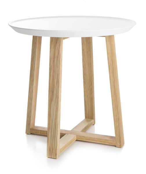 0 Bord rundt, hvit topp og ben i tre - Ø:38 cm