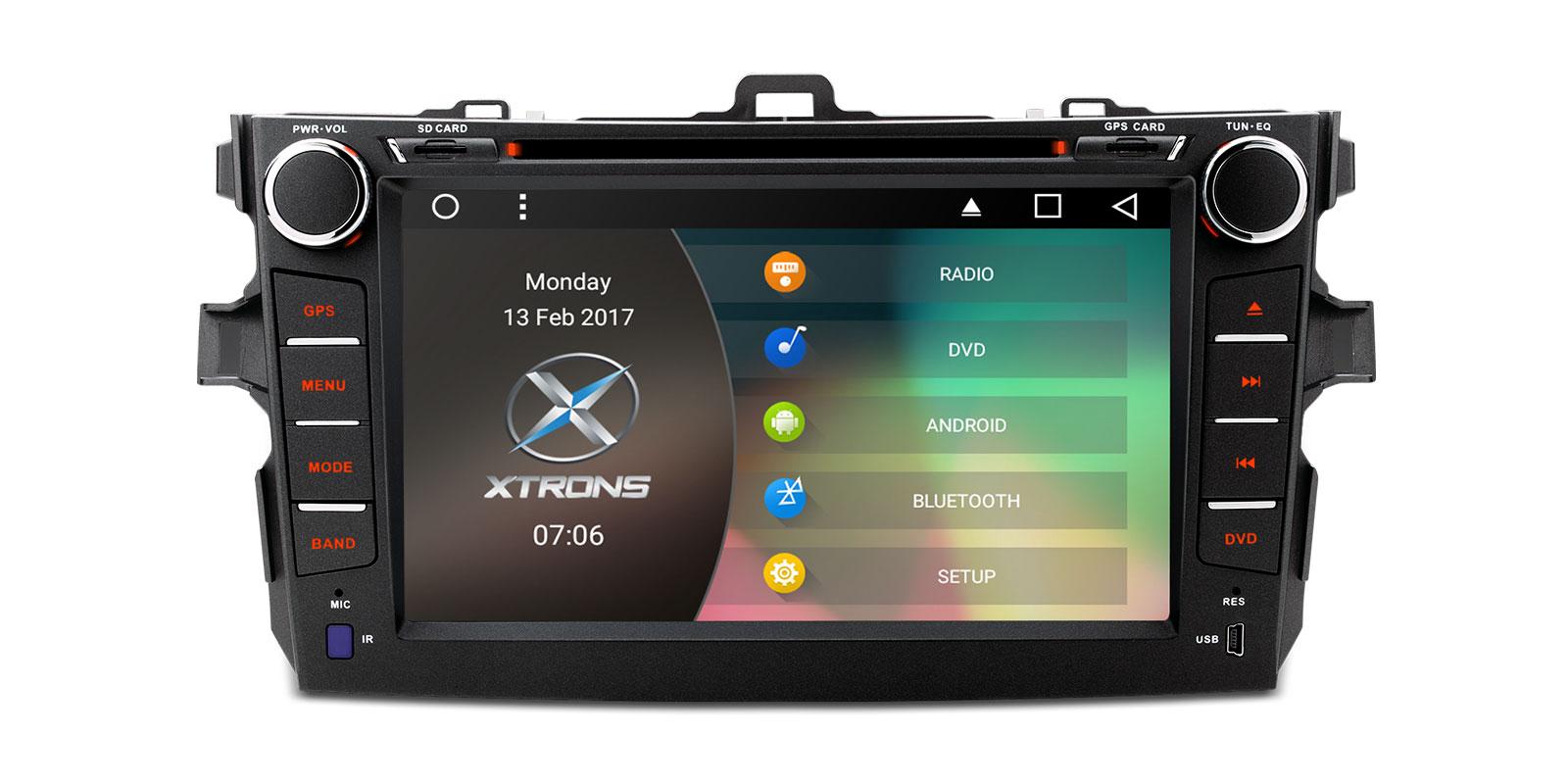 0 Xtrons Spesialspiller for Toyota Corolla med DVD Android 6.0 og