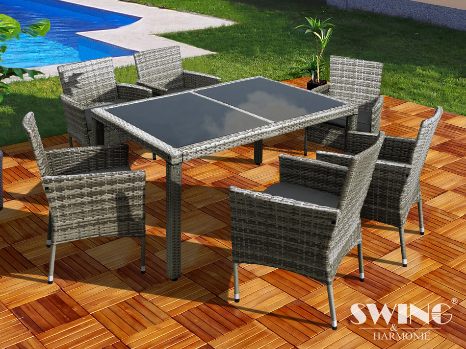0 Rotting spisegruppe XXL med 6 stoler - grå