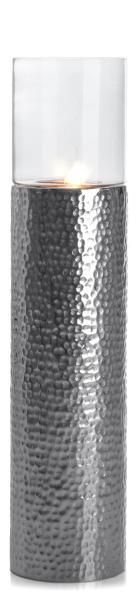 0 Lykt hamret metall m/glass - H:92 cm
