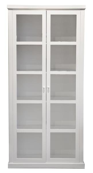 0 Høyt Skap hvit m/2 glassdører - H:210 B:100 cm
