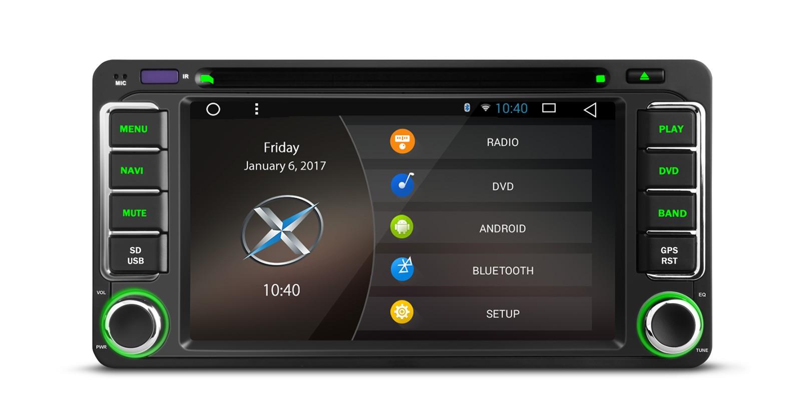 0 Xtrons Spesialspiller for Toyota med DVD Android 6.0 og DAB+