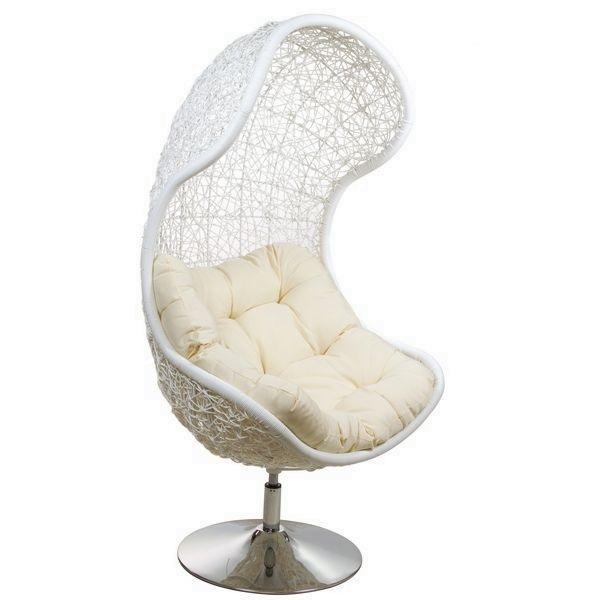 0 Stående rotting stol - hvit