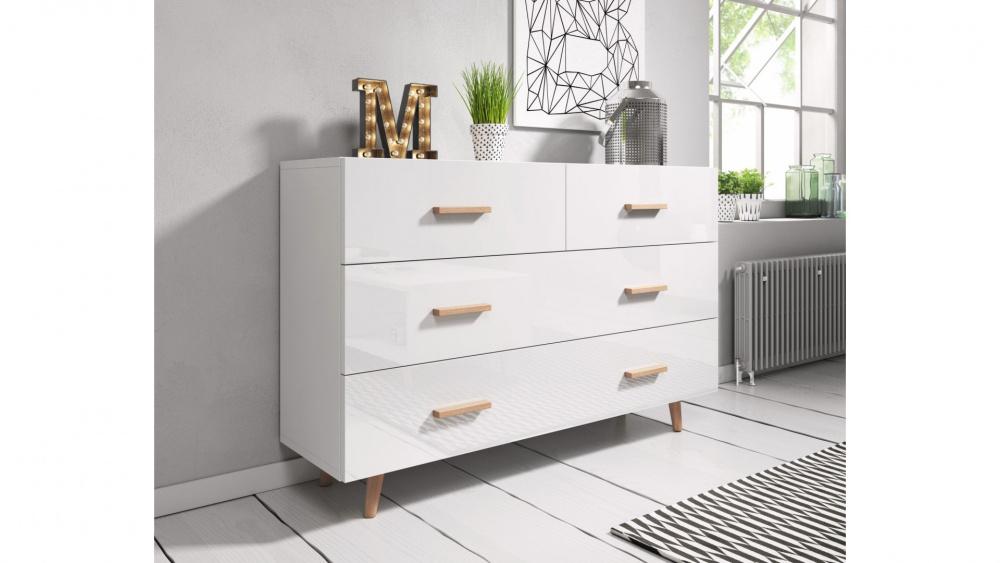 0 Kommode - Sverige 125x80 cm hvit