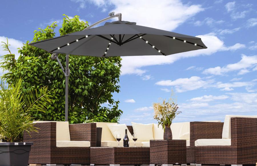 0 LED parasoll - Antrasitt og solcelle Ø300cm