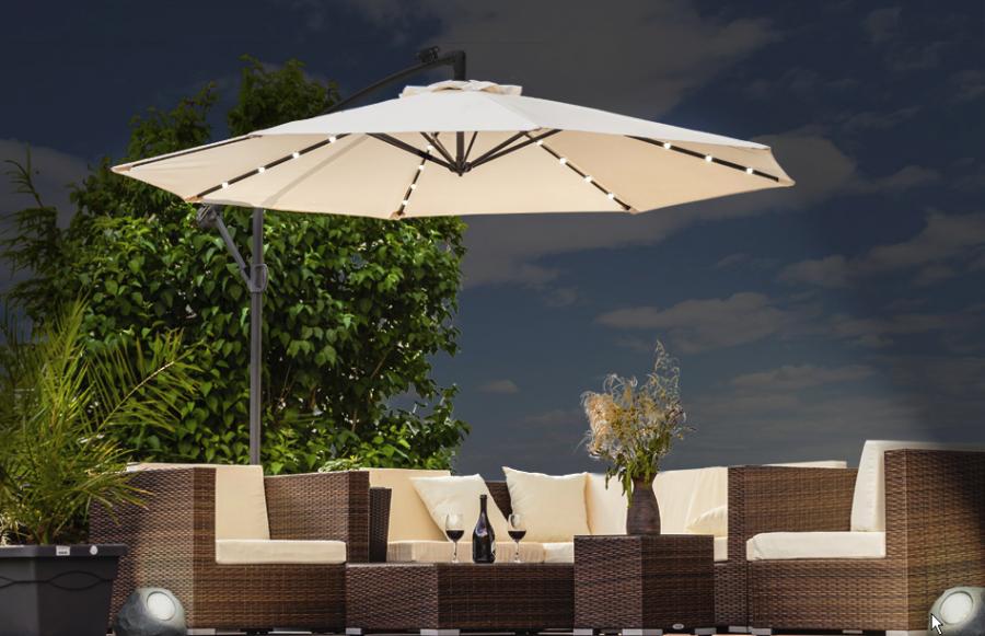 0 LED parasoll - kremfarget og solcelle Ø300cm