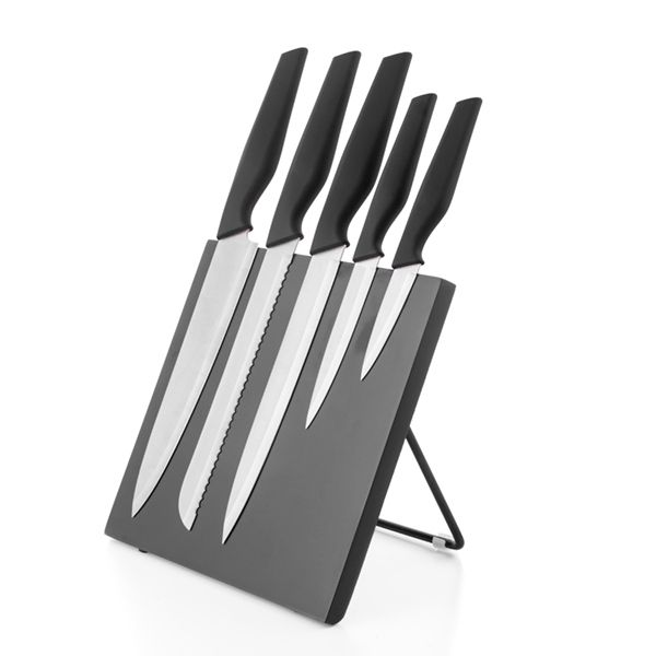 Bravissima Kitchen Knivsett på magnetplate - sort eller rød