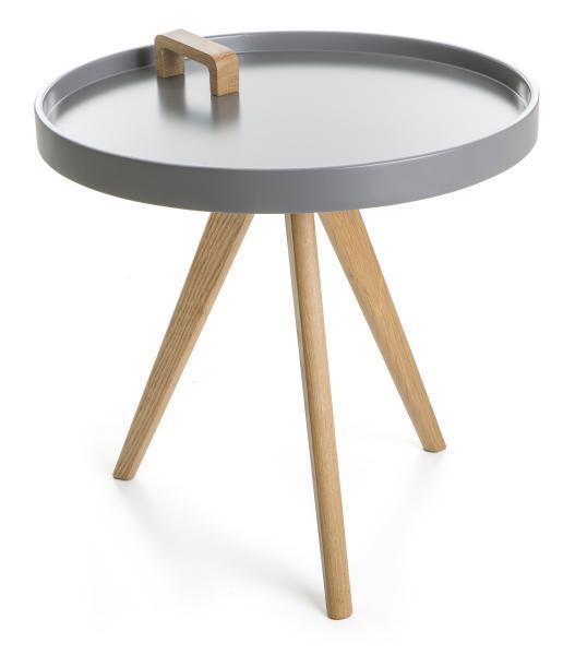 0 Bord rundt grå m/ben og håndtak i eik