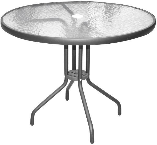 0 Bord koksgrå alu./stål, Ø:90 cm