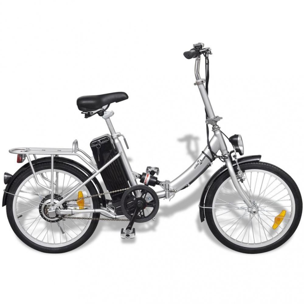 0 Sammenleggbar elektrisk sykkel sølv - litium batteri